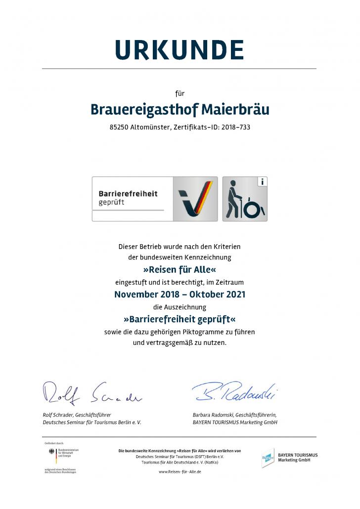 Brauereigasthof Maierbraeu Urkunde Barrierefreiheit