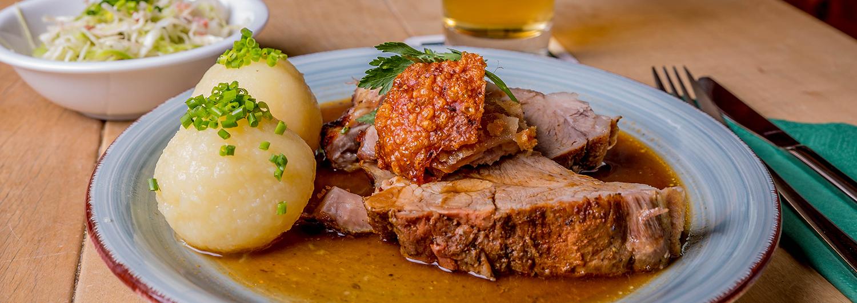 Speisekarte Brauereigasthof Maierbräu - Schweinebraten mit Knödel